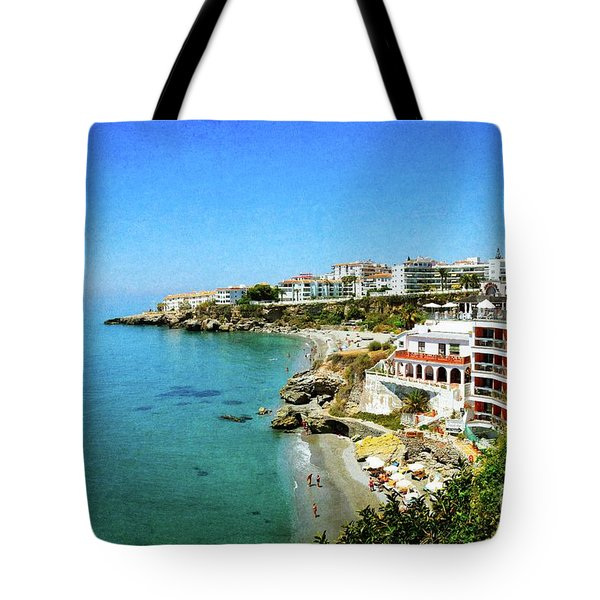 Tote Bag featuring the photograph The Beach - Nerja Spain by Mary Machare