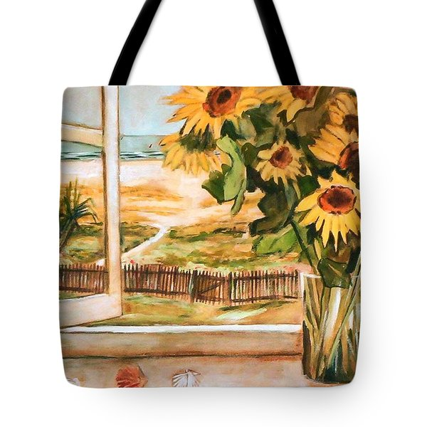 The Beach Sunflowers Tote Bag by Winsome Gunning