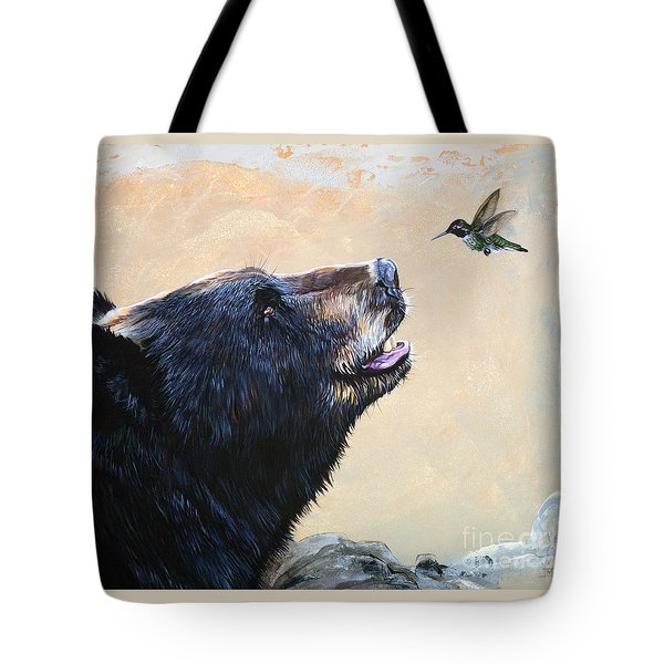 The Bear And The Hummingbird Tote Bag by J W Baker