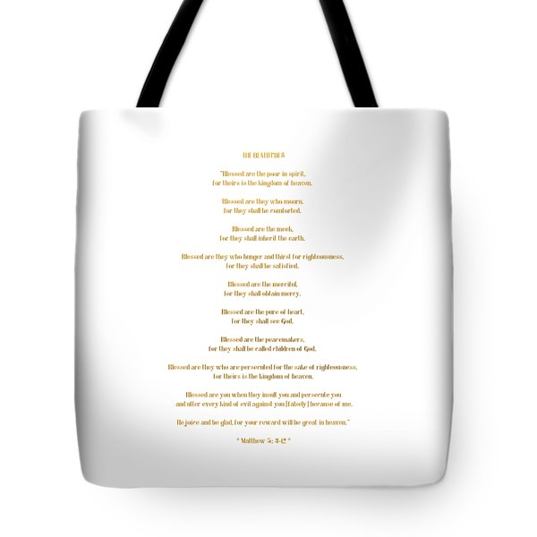 The Beatitudes Gospel Of Matthew Tote Bag