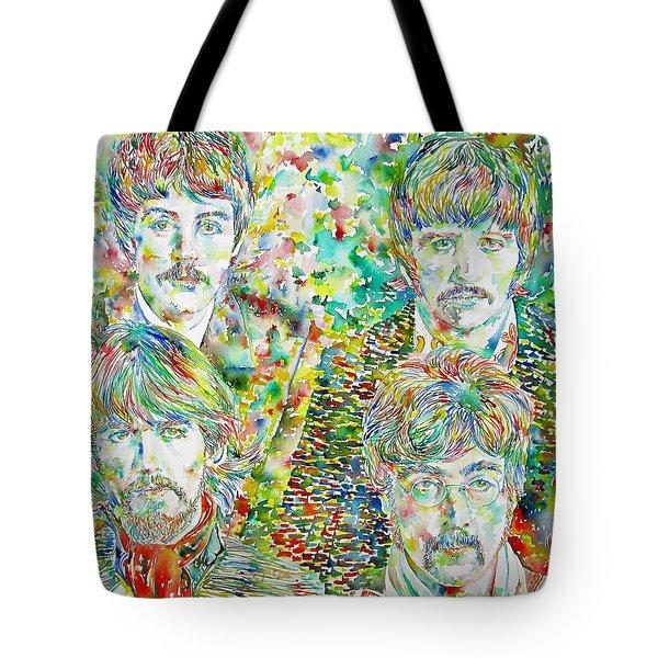 The Beatles - Watercolor Portrait.1 Tote Bag by Fabrizio Cassetta