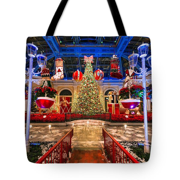 Tote Bag featuring the photograph The Bellagio Christmas Tree And Decorations 2015 by Aloha Art