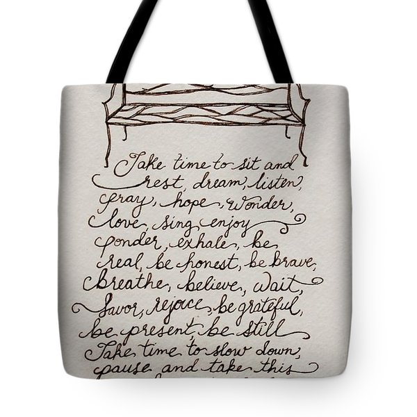 The Bench Tote Bag by Elizabeth Robinette Tyndall