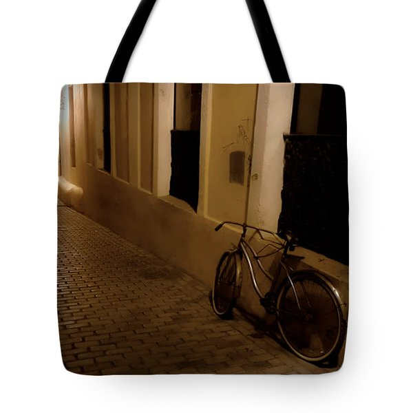 Tote Bag featuring the photograph The Bicycle And The Brick Road by DigiArt Diaries by Vicky B Fuller