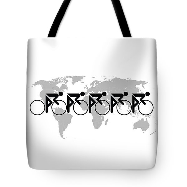 Tote Bag featuring the photograph The Bicycle Race 3 Black On White by Brian Carson