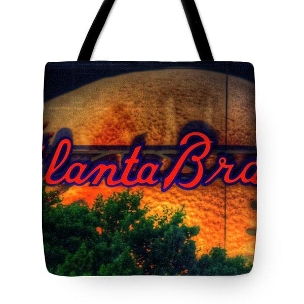 The Big Ball Atlanta Braves Baseball Signage Art Tote Bag
