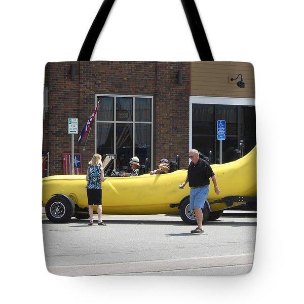 The Big Banana Car Stops By Tote Bag