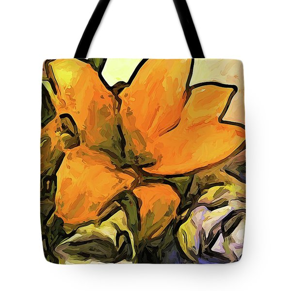 The Big Gold Flower And The White Roses Tote Bag