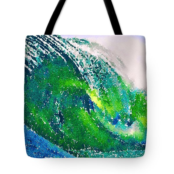 Tote Bag featuring the painting The Big Green by Angela Treat Lyon