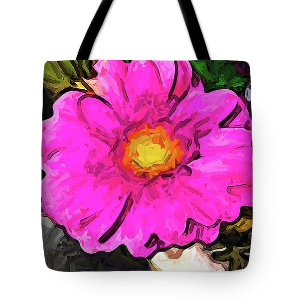 The Big Pink And Yellow Flower In The Little Vase Tote Bag