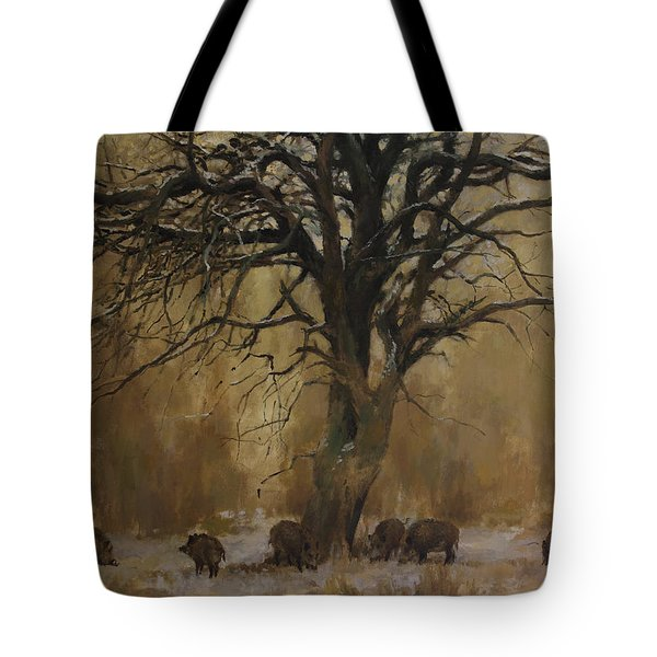 The Big Tree With Wild Boars Tote Bag
