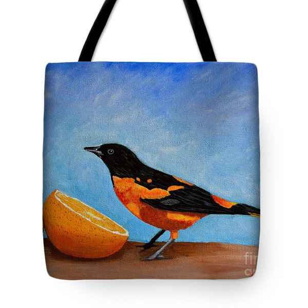 Tote Bag featuring the painting The Bird And Orange by Laura Forde