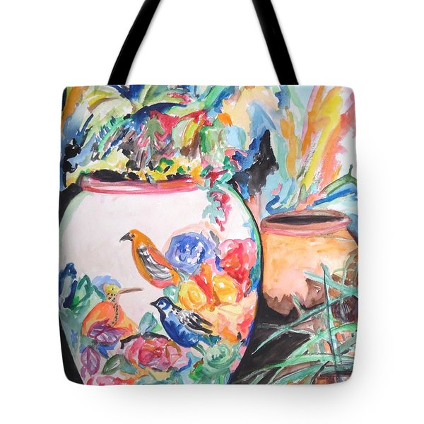 The Bird Flower Pot Tote Bag by Esther Newman-Cohen