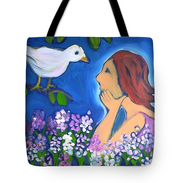 Tote Bag featuring the painting The Bird by Winsome Gunning