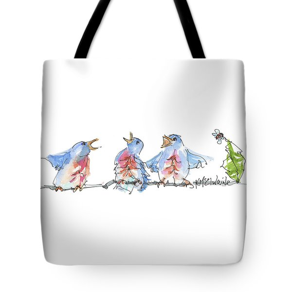 The Birds And The Bee Bird Art Watercolor Painting By Kmcelwaine Tote Bag