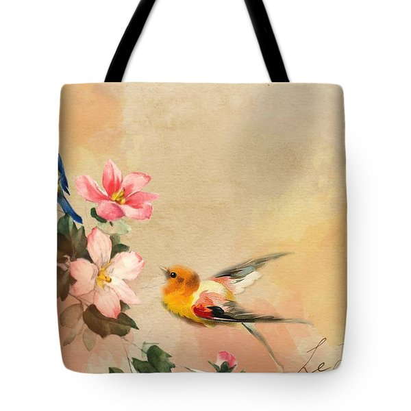 Tote Bag featuring the pyrography The Birds by Artistic Panda
