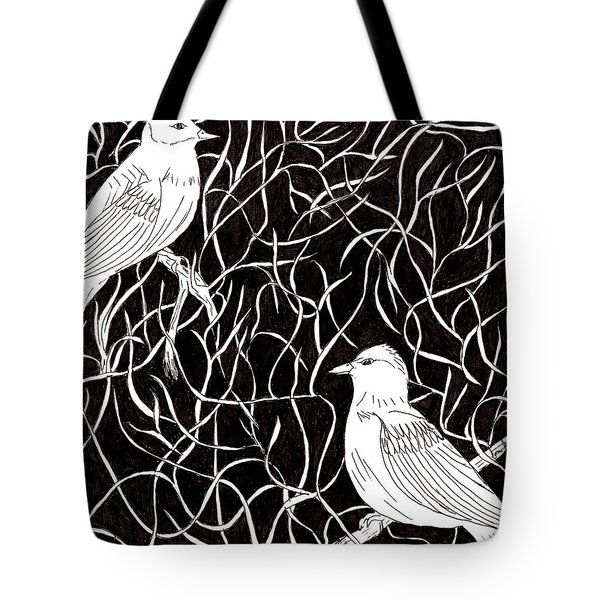 Tote Bag featuring the drawing The Birds by Lou Belcher