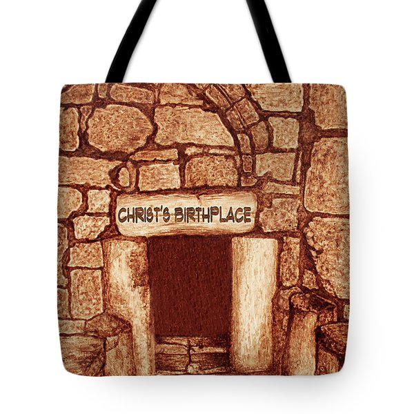 Tote Bag featuring the painting The Birthplace Of Christ Church Of The Nativity by Georgeta Blanaru