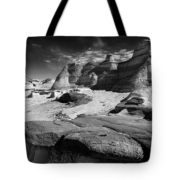 The Bisti Badlands - New Mexico - Black And White Tote Bag by Jason Politte