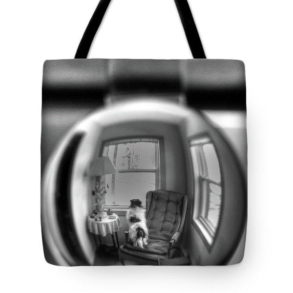The Black And White Globe Dog Tote Bag