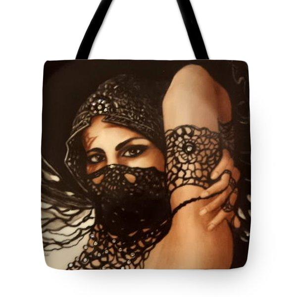 The Black Lace Veil Tote Bag