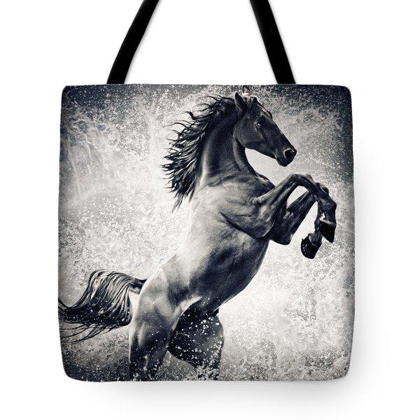 The Black Stallion Arabian Horse Reared Up Tote Bag