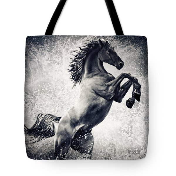 The Black Stallion Arabian Horse Reared Up Tote Bag
