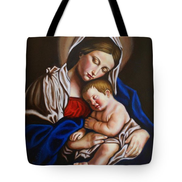 The Blessed Mother And The Infant Jesus Tote Bag