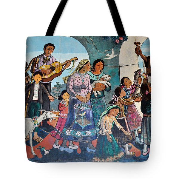 Tote Bag featuring the painting The Blessing Of Animals Olvera Street by Kyle Hanson