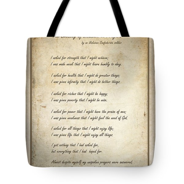 The Blessing Of Unanswered Prayers Tote Bag