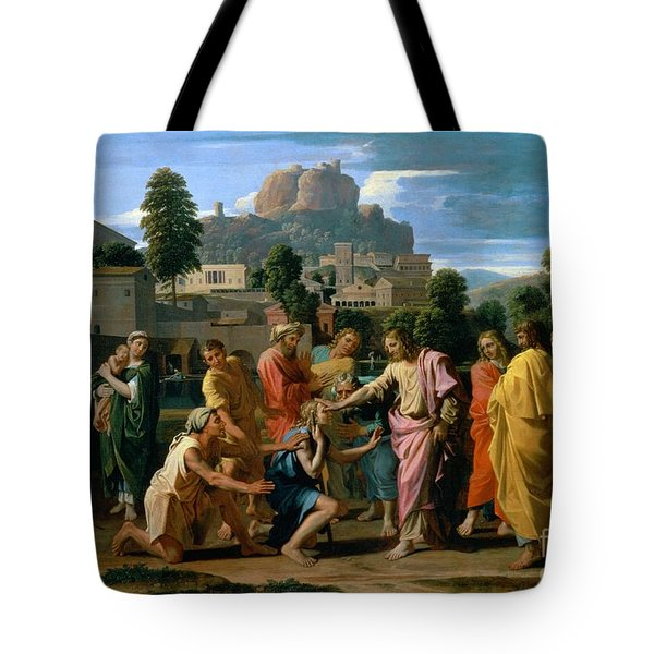 The Blind Of Jericho Tote Bag by Nicolas Poussin