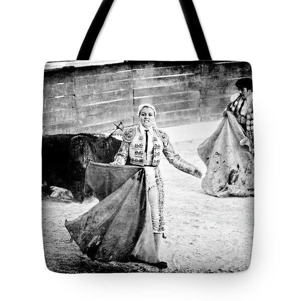 The Blond, The Bull And The Coup De Gras Bullfight Tote Bag