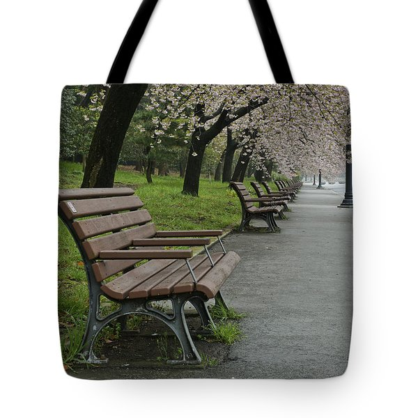 The Blossoms And The Bench Tote Bag