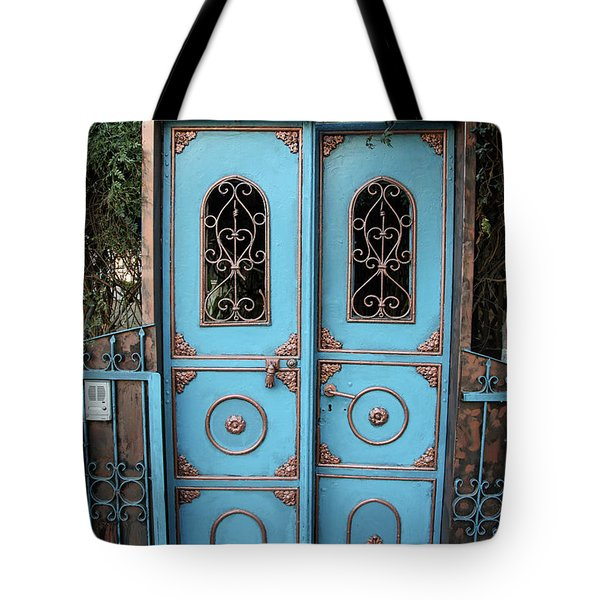 The Blue And Gold Door Of Jerusalem Tote Bag by Yoel Koskas