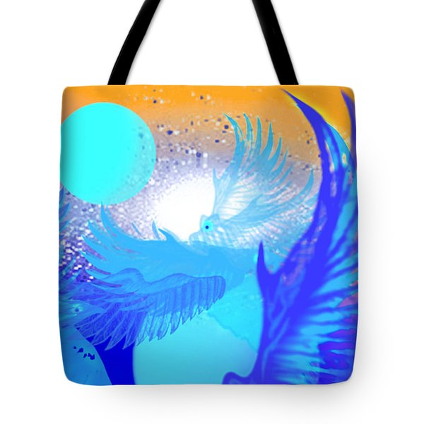 Tote Bag featuring the digital art The Blue Avians by Ute Posegga-Rudel