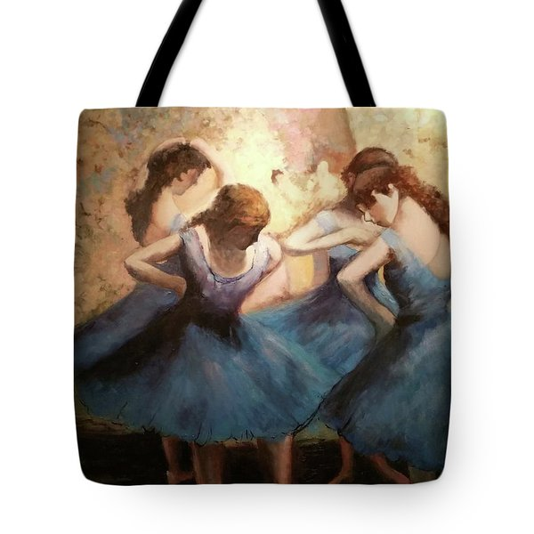 Tote Bag featuring the painting The Blue Ballerinas - A Edgar Degas Artwork Adaptation by Rosario Piazza