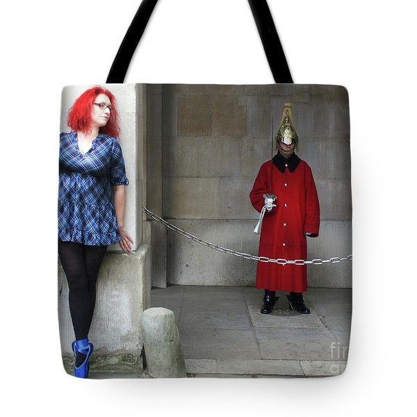The Blue Ballet Shoes Hide From The Queen's Guard Tote Bag
