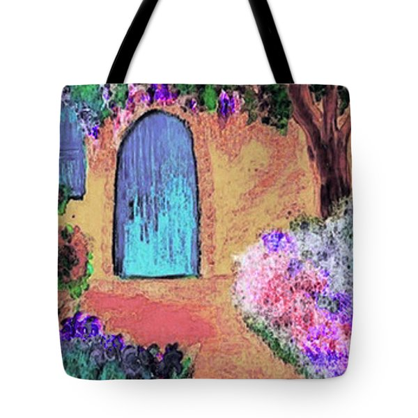 Tote Bag featuring the mixed media The Blue Door by Holly Martinson