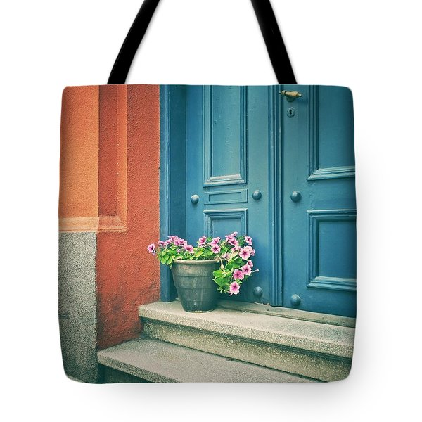 Tote Bag featuring the photograph The Blue Door by Karen Stahlros