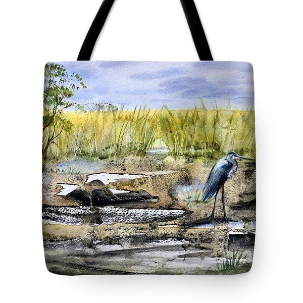 The Blue Egret Tote Bag
