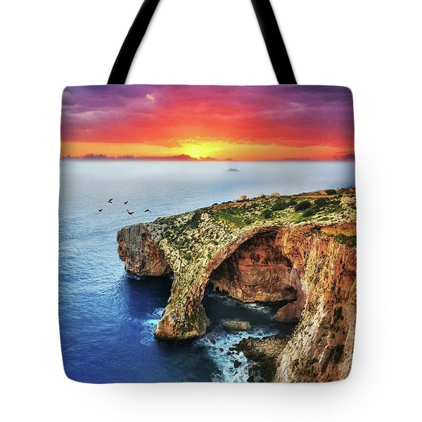 The Blue Grotto At Sunset In Malta Tote Bag by Stephan Grixti