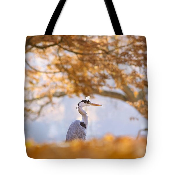 The Blue Heron And The Red Tree Tote Bag