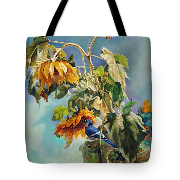 The Blue Jay Who Came To Breakfast Tote Bag by Svitozar Nenyuk