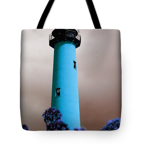Tote Bag featuring the photograph The Blue Lighthouse by Artistic Panda