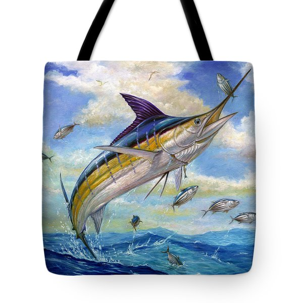 The Blue Marlin Leaping To Eat Tote Bag