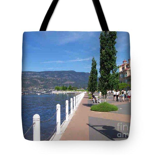 The Boardwalk In Kelowna   Tote Bag by Rod Jellison