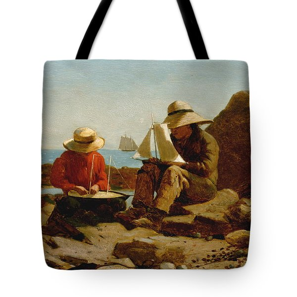 Tote Bag featuring the painting The Boat Builders - 1873 by Winslow Homer