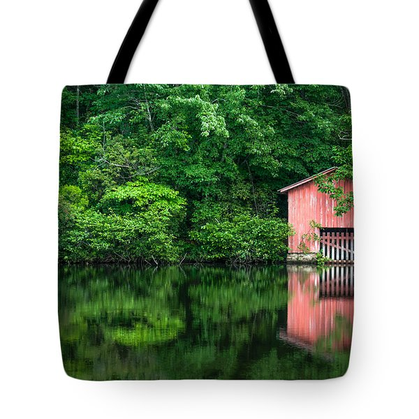 The Boat House At Desoto Falls Tote Bag by Phillip Burrow