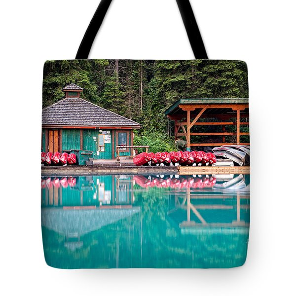 Tote Bag featuring the photograph The Boat House At Emerald Lake In Yoho National Park by Bryan Mullennix