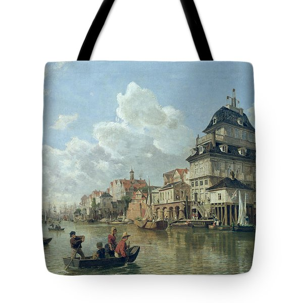 The Boat House At Hamburg Harbour Tote Bag by Valentin Ruths